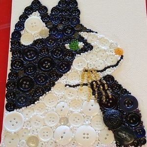 Handmade button cat picture